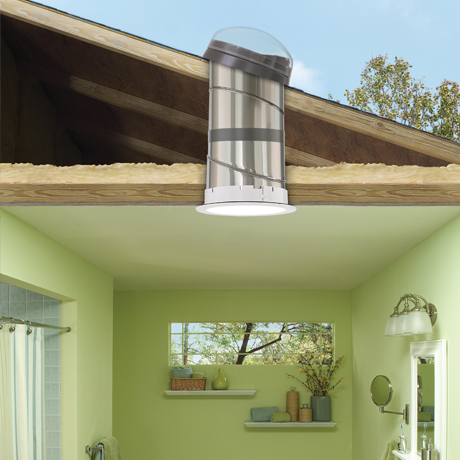 Velux sun tunnel skylights flexible and rigid for Sun tunnel light