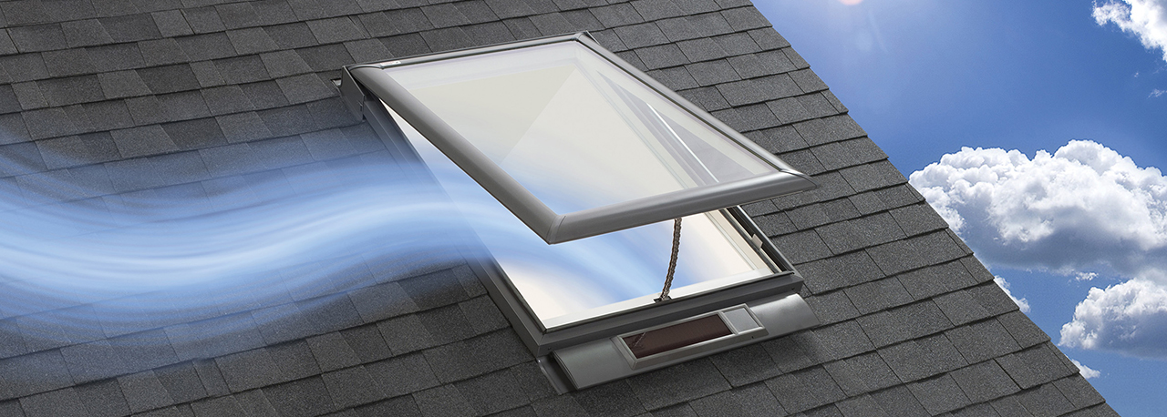 Velux solar powered venting skylight curb or deck for Cleaning velux skylights